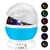 Baby Night Light Star Projector with Timer and Remote for Kids Built-in 12 Light Songs 360 Degree Rotating 8 Colorful Lights (Blue)