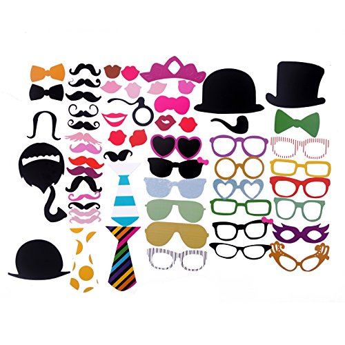 HDE Photo Booth Props 58 Piece Dress Up Accessory Kit for Wedding Birthday Party Reunion