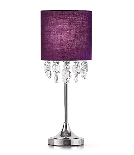 Florence 22 H Crystal Pendants Table Lamp Purple Shade