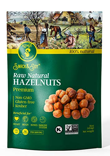 AZNUT Raw Hazelnuts Natural Non-GMO Certified,Kosher Certified, Resealable Bag 16 oz