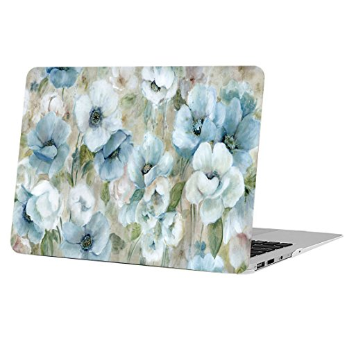 MacBook Air 13 Inch Case, Funut Matte Rubber Coated Soft Touch Plastic Hard Case Shell Fashion Style for Laptop MacBook Air 13.3 Inch A1466 A1369, White Flowers