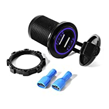 XCSOURCE Universal Dual USB Charger Socket with Blue LED Light 5V 1A 2.1A for Smartphones Tablets Car Boat Marine BI260