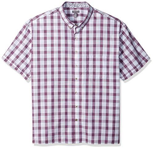Van Heusen Men's Big and Tall Never Tuck Short Sleeve Button Down Shirt, purple grape jam, 3X-Large Tall