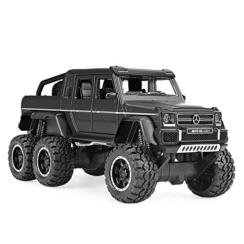 (Bseion Mercedes-Benz G63 Six-Wheeled Off-Road Vehicle 1:32 Alloy Simulation Car Model Sound and Light Pull Back Car Friction Inertia Toy Car Children's Birthday (Color : Black ))