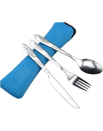 3 piezas de viaje portátiles de acero inoxidable cuchillería reutilizables vajilla conjunto con bolsa de cremallera