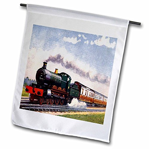 (3dRose fl_4794_1 Steam Train Garden Flag, 12 by 18-Inch )