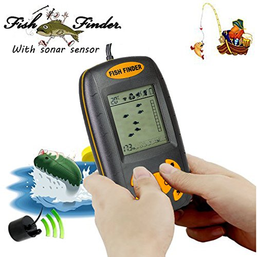 Portable Fish Finder with Round Sonar Sensor Alarm Transducer Fish Finder Water Depth & Temperature Fish finder LCD Display