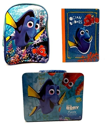 [Todder Kids Back to School Pre-school Elementary Girls Backpack Finding Dory Nemo Lunch Box Notebook Bundle Mega Toy Figure 3 Piece] (Finding Nemo Costume Homemade)