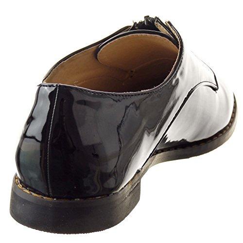 Sopily - Scarpe da Moda scarpa derby Mocassini alla caviglia donna Finitura cuciture impunture Zip Tacco a blocco 1.5 CM - Nero