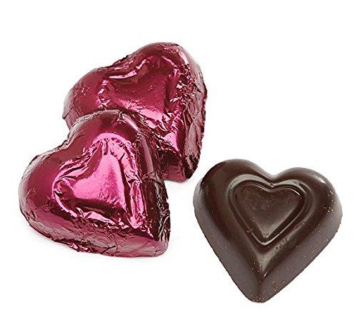Dark Chocolate Burgundy Color Foiled Hearts - 1 LB Madelaine Premium Valentine's Chocolate, 60 Pieces