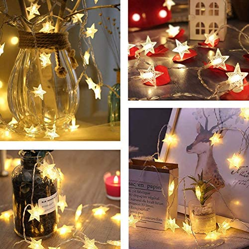 50 LED Star String Lights Battery Operated Waterproof Twinkle Fairy Lights with 8 Modes for Indoor Outdoor, Home, Garden, Party, Wedding, Christmas Tree, New Year Decoration (Warm White)