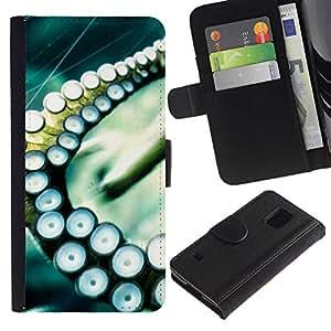JackGot ( Polpo Calamari Sea Tentacolo ) Samsung Galaxy S5 V SM-G900 la tarjeta de Crédito Slots PU Funda de cuero Monedero caso cubierta de piel