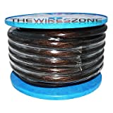 SPW-0-50BKXX High Quality Clear Black 1/0 Gauge 50' Feet Power Cable