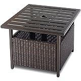 Custpromo Outdoor Patio Rattan Wicker Steel Side Deck Table Bistro Table With Umbrella Hole