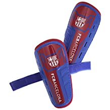 FC Barcelona Childrens/Kids Official Padded Football Shin Guards (Youth (12-14 Years)) (Scarlet/Blue)