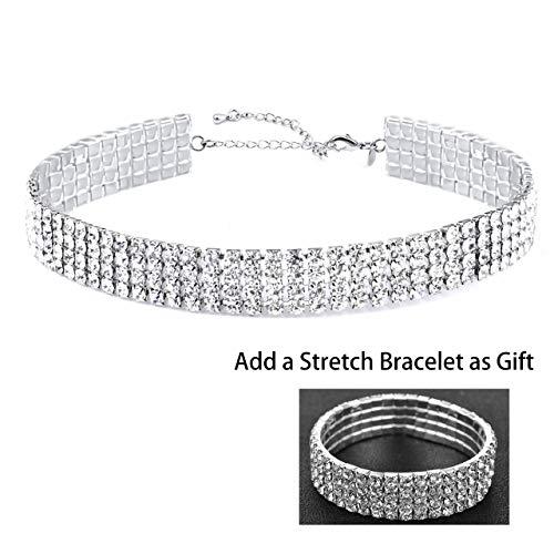 (Zealmer Sparkle 4 Row Diamond Choker Necklaces & Bracelets Set)