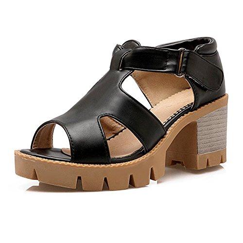 Femmes Chunky Talons Hauts Découpes Sandales Nous 6.5