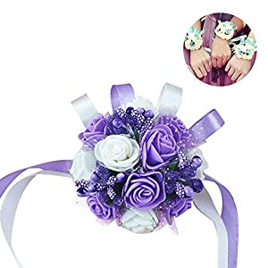 KOBWA Bridesmaid Wedding Wrist Corsage Artificial Rose Wrist Flowers Party Prom Decor(Purple White) 82