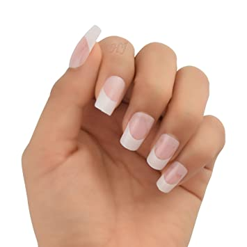 Amazon 24pcspack Clear Pink French White Airbrush Nails