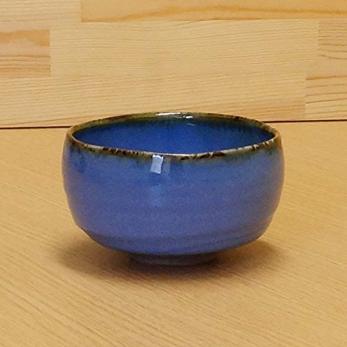 Imari Arita-yaki Japanese Ceramic Matcha Bowl - Fuchisabi Abyssal Blue and Dust Red