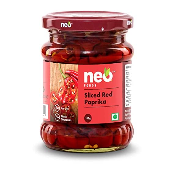 Neo Foods Sliced Red Paprika 180g Pack of 2