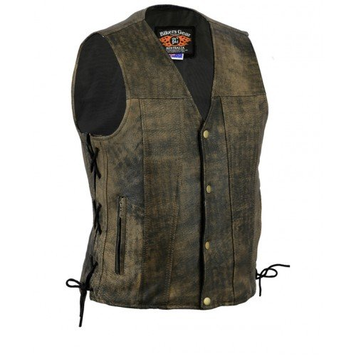 Bikers Gear Australia  Premium 1.3mm Soft Cowhide Harley Style Leather Vest with Adjustable Lace Sides and Pockets, Distressed Brown, Size M LV070BRM