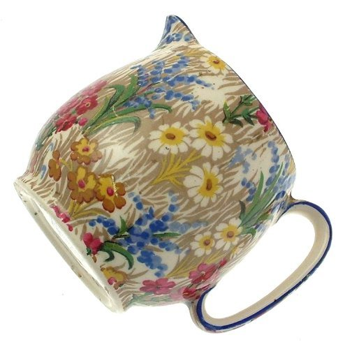 c1930 Grimwades Royal Winton Marguerite small jug with blue trim - stands 2.75 inches in height