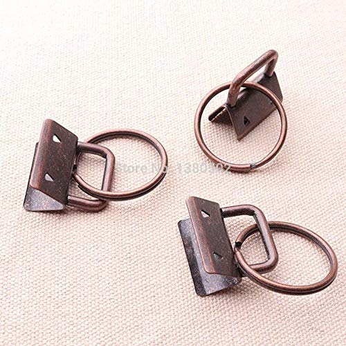 (Buckes - 10pcs /lot 32mm 1.25' Key Fob Hardware Copper Color with Key Ring Split Ring Buckle for Lanyard Webbing Ribbon Accessories)