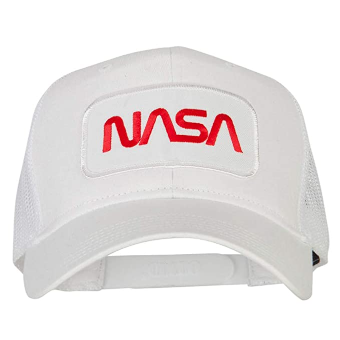 9ec2ae6a4f42c e4Hats.com NASA Logo Embroidered Patched Mesh Back Cap - White OSFM ...