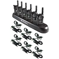 6 Pack of Motorola CLS1410 Walkie Talkie Radios with Headsets & 6-Bank Charger