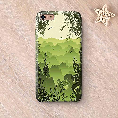 Forest Non Fading Compatible with iPhone Case,Forest Scenery with Tea Trees and Gulls in The Jungle Birds Branches Eco Graphic Work Compatible with iPhone 6 Plus / 6s Plus,iPhone 6 Plus / 6s Plus