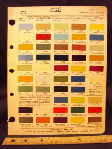 1973 FORD Truck, Econoline Van (Standard Club, Custom Club, Chateau), & Bronco Paint Colors Chip Page