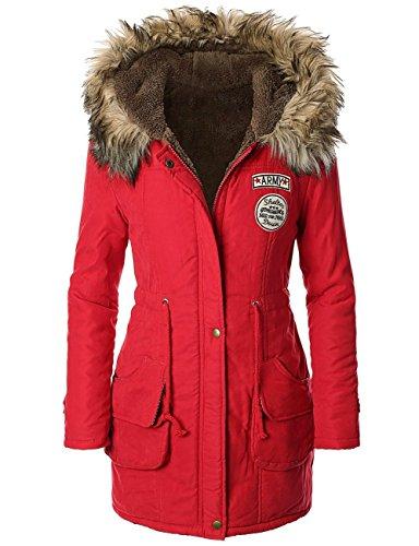 Panda Cos Femme Hiver Chaud Manteau Militaire Parka  capuche avec bordure en fausse fourrure Red