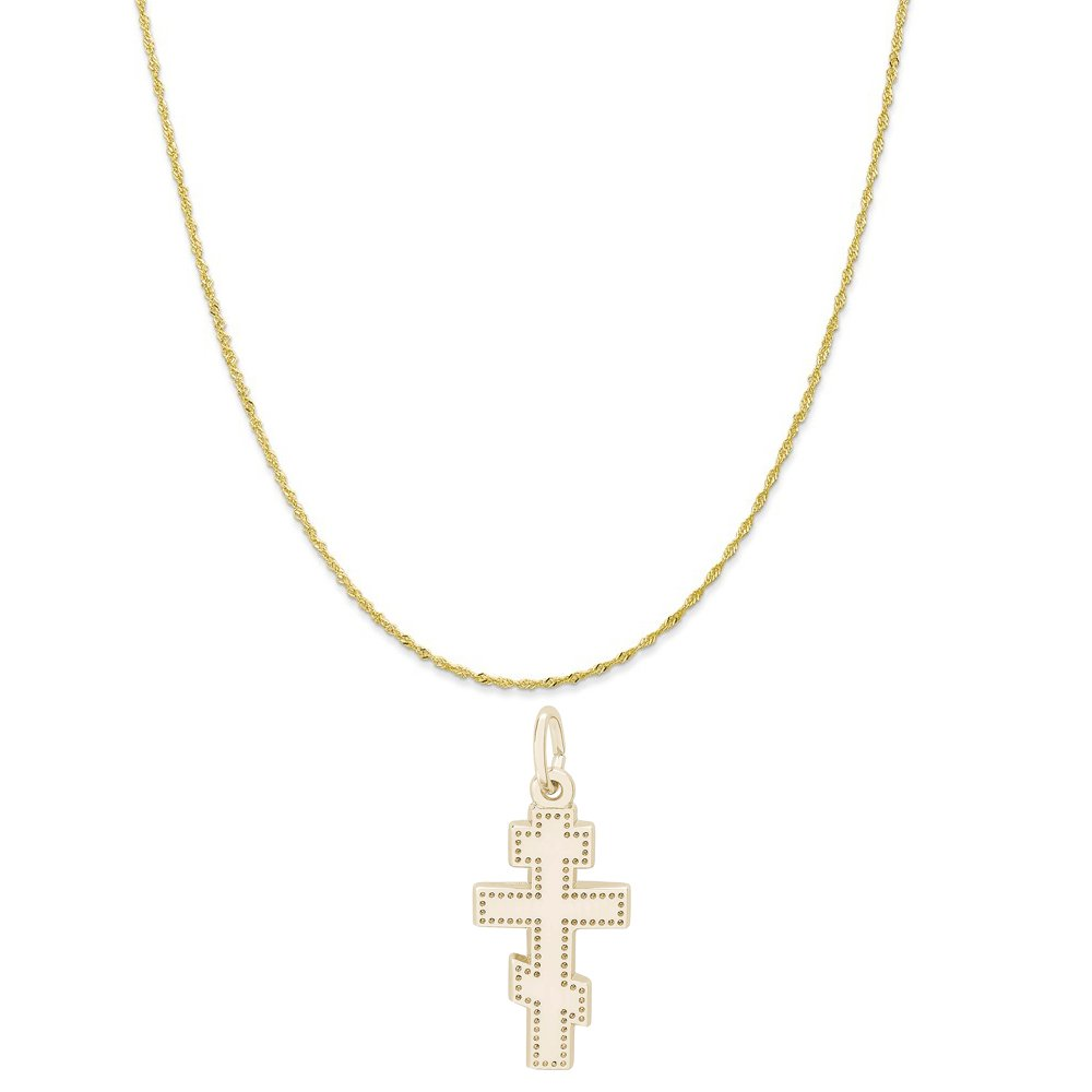 Rembrandt Charms 10K Yellow Gold Greek Cross Charm on a Twist Curb Chain Necklace, 20''