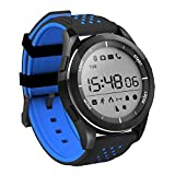 Digital Mens Smart Watch, Bluetooth 4.0 Fitness Tracker Watch with IP68 Waterproof/Pedometer/Sleep Monitor/SMS Notification for Android and IOS(Blue and Black)