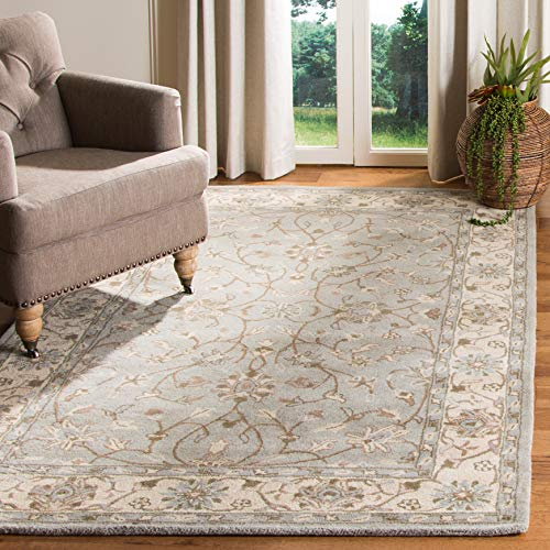 Beige Rectangular Area Rug - Safavieh Heritage Collection HG862A Handcrafted Traditional Oriental Beige and Grey Wool Area Rug (8' x 10')