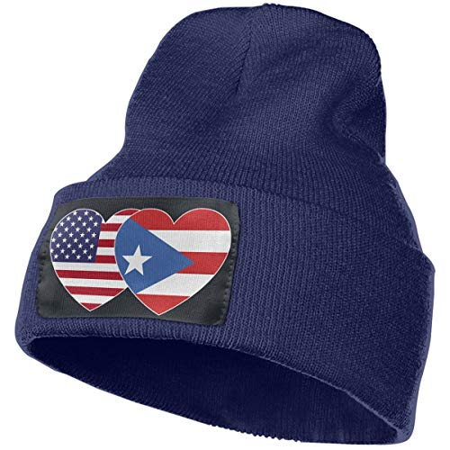 Puerto RICO USA Flag Twin Heart Men & Women Winter Fashion Skull Cap Navy