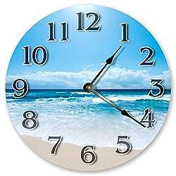 10.5 BLUE BEACH PARADISE VIEW CLOCK - Large 10.5 Wall Clock - Home Décor Clock