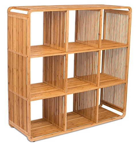 BIRDROCK HOME Bamboo Storage Cube Cabinet | Wooden Storage Cubbies | 9 Cube Storage Unit | Classroom Bedroom Kid's Room Storage ()