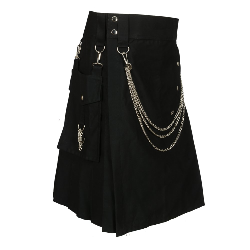 Scottish Black Fashion Utility Kilt With Silver Chains (Belly Button Measurements 36)