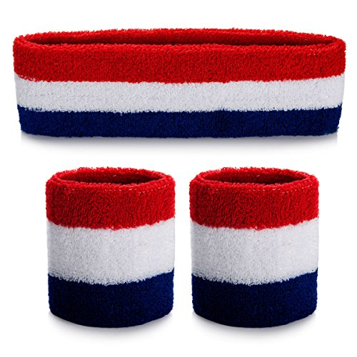 (3 Pieces) Sports Headband Wristband Set Sweatbands Terry Cloth Wristband Athletic Exercise Basketball Wrist Sweatband and Headbands Moisture Wicking Sweat Absorbing Head Band (Striped Sweatband)