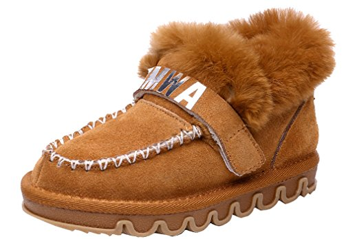Boys Loafer Girls Light Shoe Cotton Cotton Tassel Shoe Leather Winter Snow Style Shoe Thickened Sneaker Durable Pointss Brown Walking Soft d1Fqvg1