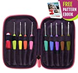 Crochet Up Glide Ergonomic Crochet Hook Set with Nonslip TPR Color Coded Marked Handles, Aluminum Needles, Travel Case, Pattern eBook, 9-Piece Hooks and Ergo Scissors