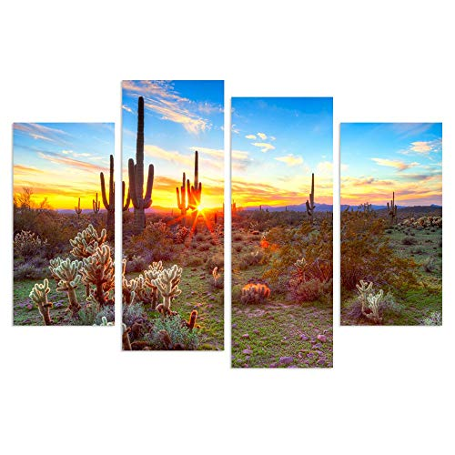 sechars - 4 Piece Canvas Wall Art Amazing Sunset in Arizona Sonoran Desert Landscape Painting Saguaro Cactus Pictures Canvas Print Southwest Decor for Home Living Room Ready to Hang ()