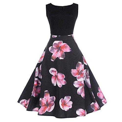 iDWZA Women Print Sleeveless Big Dress Print Party Evening Prom Swing Dress BK M(Black,M)