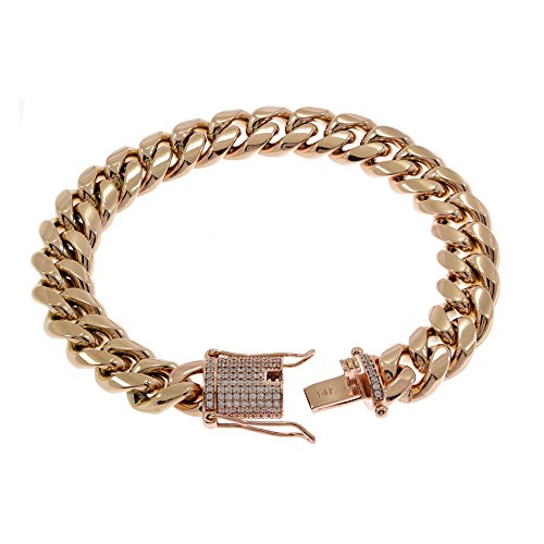 elet - 1ct Lab Diamond Clasp - 14k Rose Gold Plated Stainless Steel - Iced Out Bling (Gold Diamond Clasp)