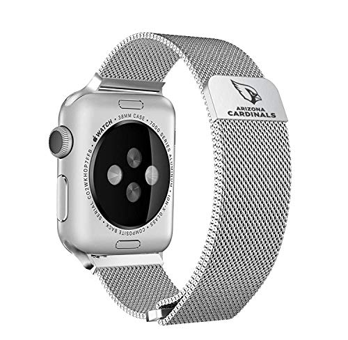 Game Time Arizona Cardinals Stainless Steel Mesh Band Compatible with Apple Watch - 38mm/40mm