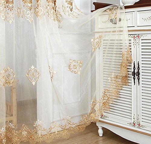 AiFish Delicate Embroidered Sheer Lace Curtain Drapes European Style Home Decor Window Treatment Floral Tulle Curtains Room Divider for Living Room Bedroom Rod Pocket Top 1 Panel W75 x L84 inch