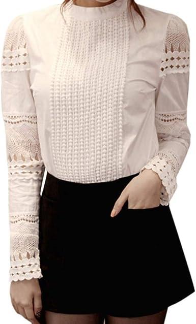 Camisa Elegante De Moda para Mujer Crochet Slim Tops O Cuello Patchwork De Encaje Bordado SóLido Manga Larga Blusa Formal De Oficina: Amazon.es: Ropa y accesorios