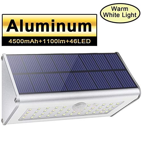 Solar Outdoor Security Wall Lights, Licwshi 1100lm 46 LED 4500mAh Silver Aluminum Alloy Infrared Motion Sensor Waterproof Night Lights for Garden, Patio, Yard, Driveway, Front Door- Warm White Light
